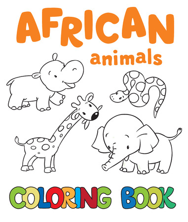 Coloring book or coloring picture with african animals, giraffe, hippo, snake, elephant Vector