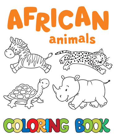 gepard: Coloring book or coloring picture with african animals, zebra, cheetah, turtle, rhino