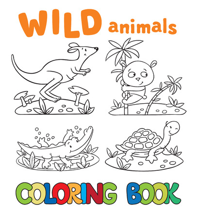 Coloring book or coloring picture with wild animals,  crocodile, panda, kangaroo, turtle. Children vector illustration. Vector
