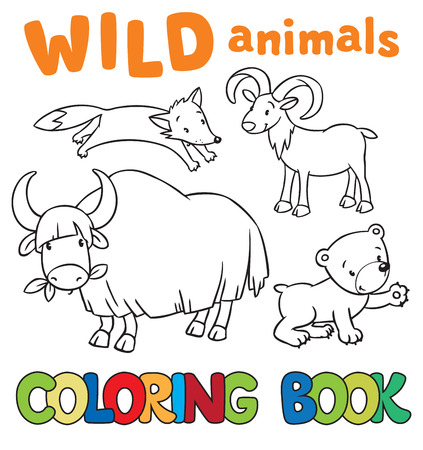 Coloring book or coloring picture with wild animals, yak, fox, ram or urial, bear.  Children vector illustration. 向量圖像