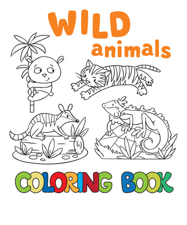 Coloring book or coloring picture with wild animals, tiger, panda, numbat, iguana Vector