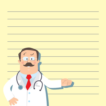 white coat: Design template with funny man doctor in white coat with stethoscope, showing by hand, on light-yellow background with lines Illustration