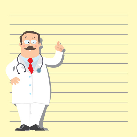 glases: Design template with funny man doctor in white coat with stethoscope, raised index finger up, on light-yellow background with lines
