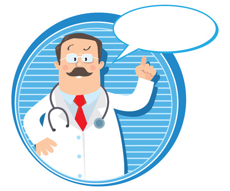 Design template or emblem with funny man doctor raised index finger up in white coat with stethoscope on round background with lines and balloon for text Vector