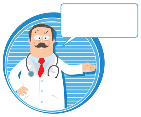 white coat: Design template or emblem with funny man doctor in white coat with stethoscope, showing by hand, on round background with lines and balloon for text