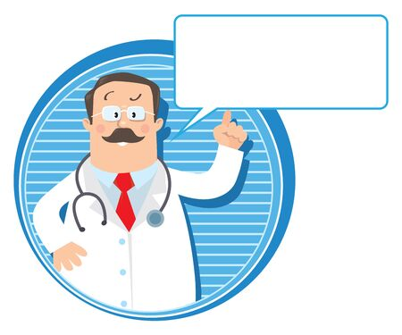 white coat: Design template or emblem with funny man doctor raised index finger up in white coat with stethoscope on round background with lines and balloon for text