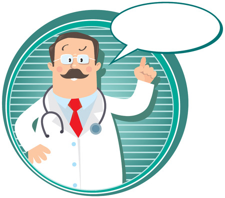 Design template or emblem with funny man doctor raised index finger up in white coat with stethoscope on round background with lines and balloon for text