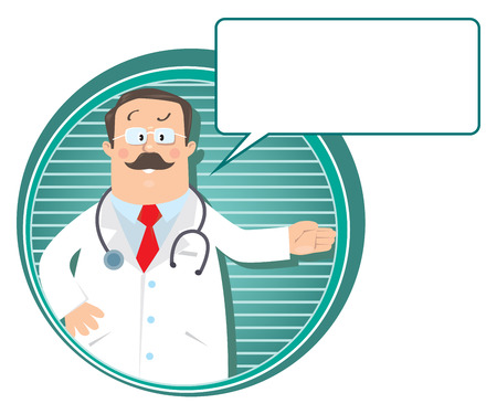 glases: Design template or emblem with funny man doctor in white coat with stethoscope, showing by hand, on round background with lines and balloon for text