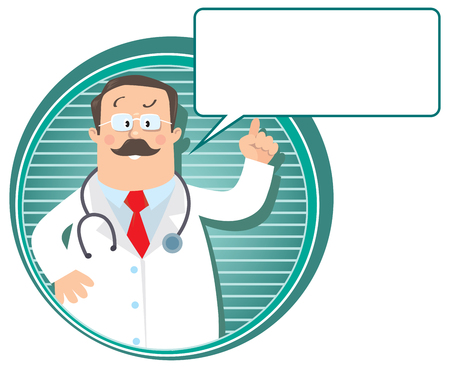 glases: Design template or emblem with funny man doctor raised index finger up in white coat with stethoscope on round background with lines and balloon for text