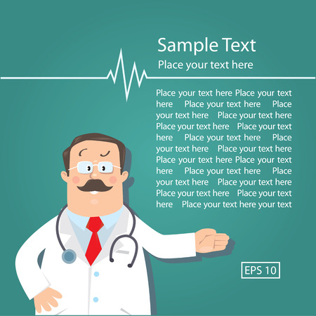 white coat: Design template with funny man doctor in white coat with stethoscope, showing by hand, on green background with sample of text