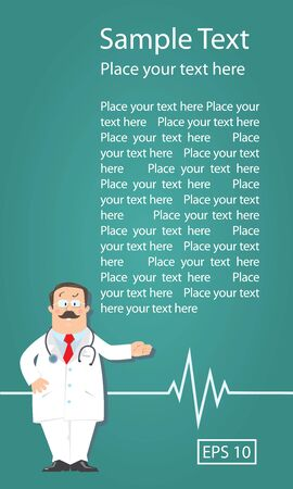 Design template with funny man doctor in white coat with stethoscope, showing by hand, on green background with sample of text