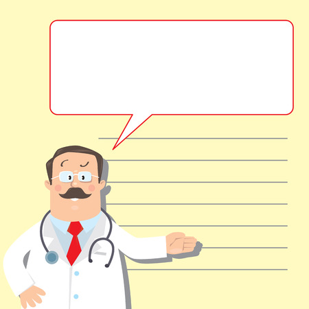 Design template for prescription or memory stick,  with funny man doctor in white coat with stethoscope, showing by hand, on light-yellow background with lines and balloon Vector