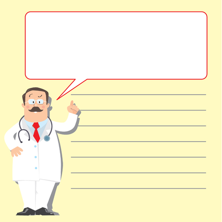 glases: Design template for prescription or memory stick,  with funny man doctor in white coat with stethoscope, showing by hand, on light-yellow background with lines and balloon
