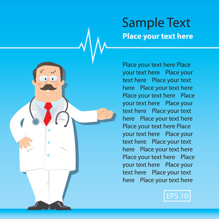 white coat: Design template with funny man doctor in white coat with stethoscope, showing by hand, on light-blue background with sample of text