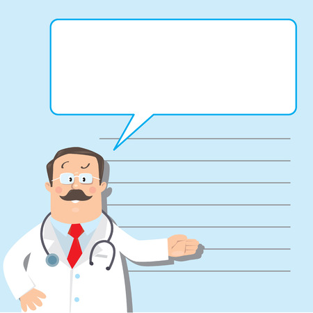memory stick: Design template for prescription or memory stick,  with funny man doctor in white coat with stethoscope, showing by hand, on light-blue background with lines and balloon