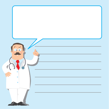 glases: Design template for prescription or memory stick,  with funny man doctor in white coat with stethoscope, showing by hand, on light-blue background with lines and balloon