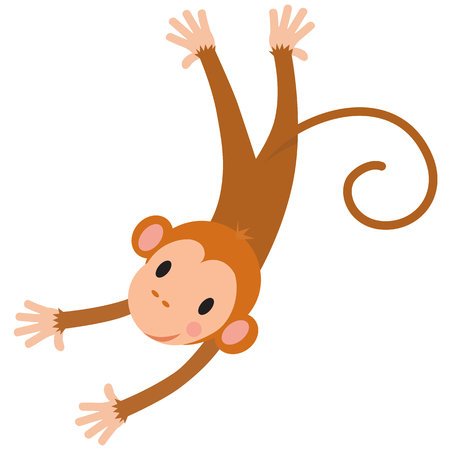 baby hand: Vector cartoon character of little funny monkey. Children illustration
