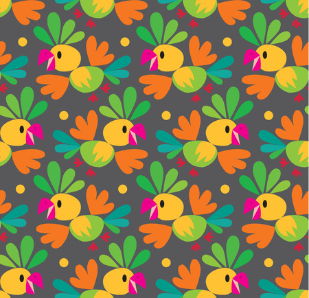 Seamless pattern or background with bright funny parrots