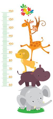 metro medir: Pared medidor o metros de altura de 50 a 120 centímetros con la jirafa y mono, loro y león, hipopótamo y el elefante