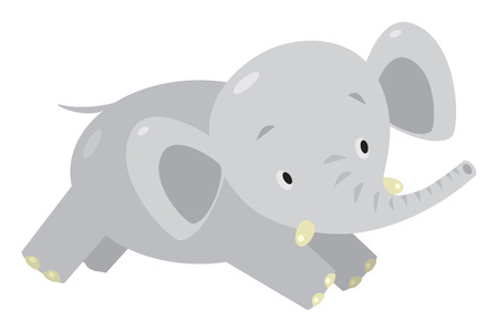 jumbo: Children vector illustration of little funny elephant or jumbo on the run