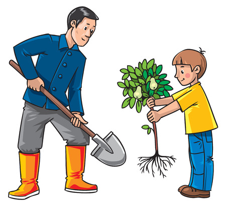 pear tree: Children vector illustration of boy with a small pear tree and man gardener with a shovel