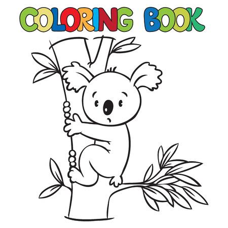 Libro de colorante o una imagen para colorear con el oso divertido koala en el árbol de eucaliptus. Ilustración de vector