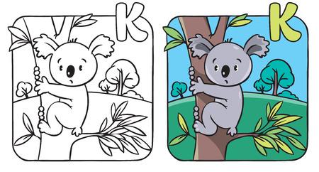 Coloring book or coloring picture with funny koala bear on eucaliptus tree. Alphabet K Illusztráció