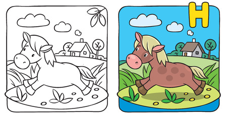 Coloring book of little funny little horse or pony running near the river. Alphabet C Vector