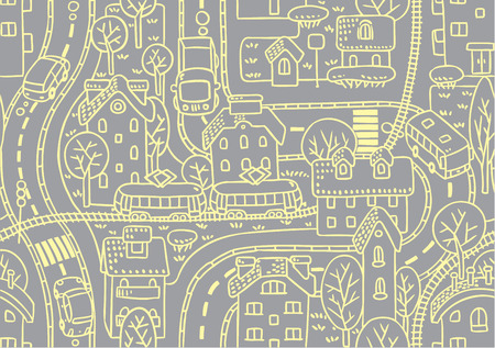 cosy: Seamless vector background pattern with streets, tram rails, roads, houses and trees