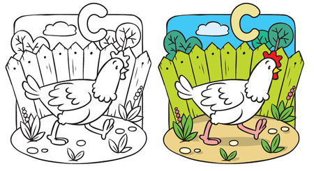 Coloring picture or coloring book of little funny chiken running around the yard. Alphabet C Stock Illustratie