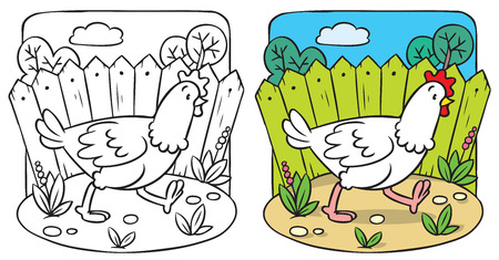 Coloring picture or coloring book of little funny chiken running around the yard. Vector