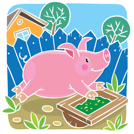 trough: Children vector illustration ofof little funny little pig or piglet running around the yard