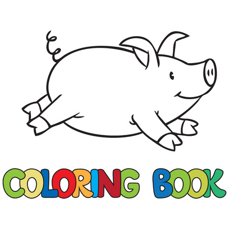 Coloring book of little funny little pig or piglet  イラスト・ベクター素材