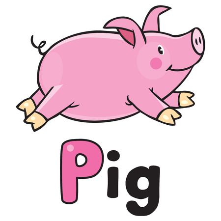 trough: Children vector illustration ofof little funny little pig or piglet running around the yard. Alphabet P