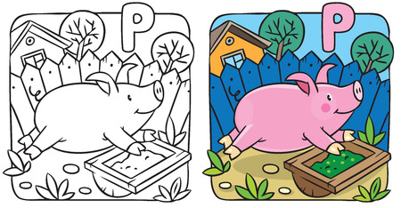 Coloring book of little funny little pig or piglet running around  the yard. Alphabet P Vector