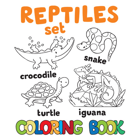 iguana: Set of funny crocodile, turtle, snake and iguana. Coloring book or coloring pictures Illustration