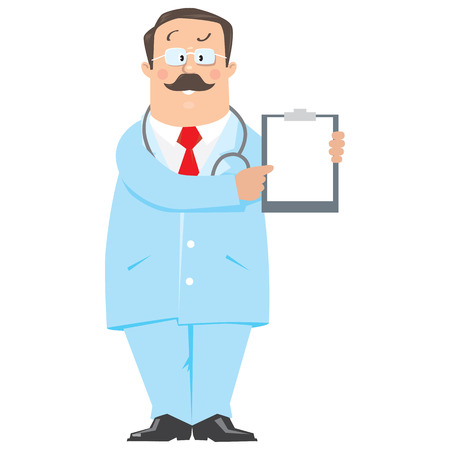 white coat: Funny doctor  in light-blue coat pointing on white blank sheet with prescription.