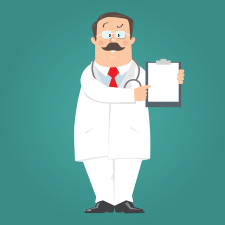 doctor: Funny doctor in white coat on blue-green background pointing on white blank sheet with prescription. Children vector illustration