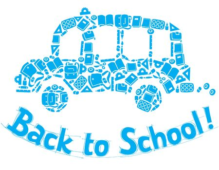Vector illustration or design template of school bus made from school supplies on background in the box, like in the school notebook, and logo or lettering Back to School Ilustração