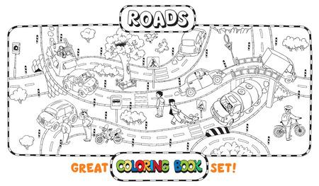 위대한 색칠하기 책 또는 도로, 횡단, 자동차와 사람들의 착색 사진