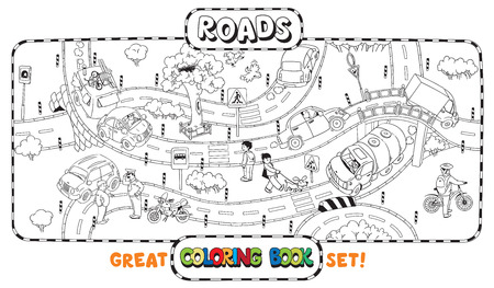Great coloring book or coloring picture of roads, crossings, cars and people Stock Illustratie