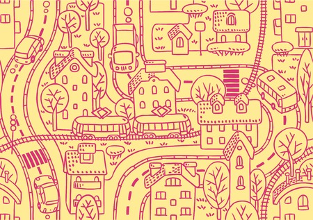 bush babies: Seamless vector background pattern with streets, tram rails, roads, houses and trees