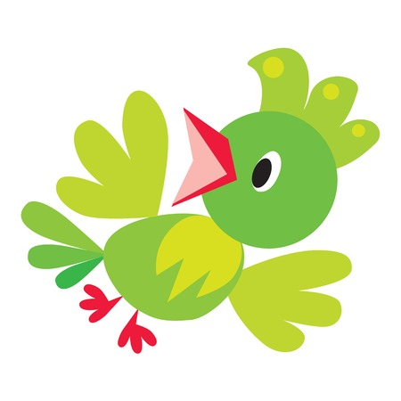 parrot tail: Children vector illustration of flying funny green bird or small parrot
