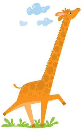 Funny giraffe run across the grass. Children vector illustration