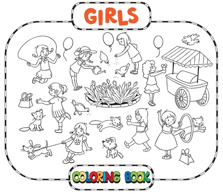 big girls: Big coloring book or coloring picture set of small girls playing in the yard with cats and dogs, watering flowers, jumping and eating ice cream