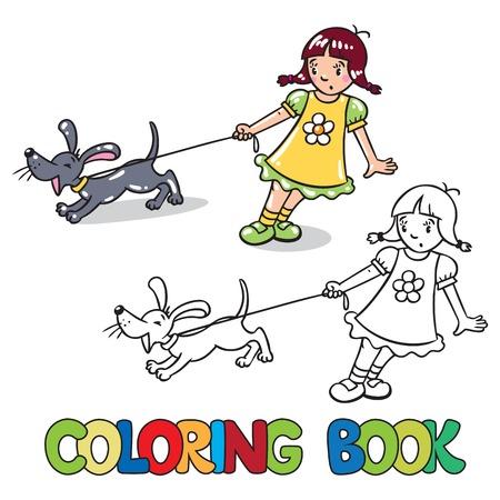 barking: Coloring book o disegno da colorare di ragazza che esercita la guinzaglio del cane che abbaia o cucciolo Vettoriali