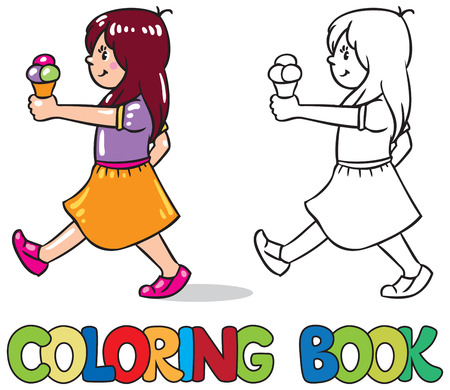 pale cream: Coloring book or coloring picture of small girl with ice cream