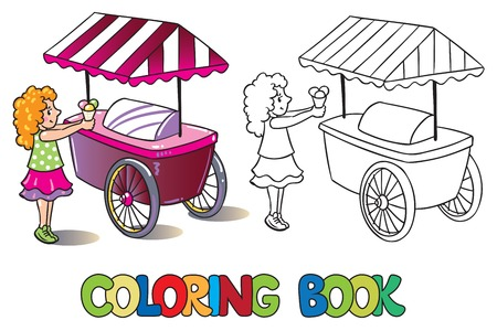 pale cream: Coloring book or coloring picture of small girl with ice cream near the ice-cream truck Illustration