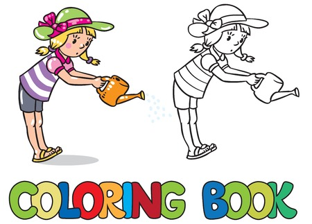 flowerbed: Coloring book or coloring picture of girl watering the flowers in the flowerbed