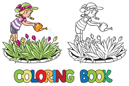 solicitude: Coloring book or coloring picture of girl watering the flowers in the flowerbed